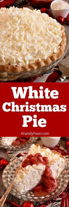 White Christmas Pie - A creamy coconut pie flavored with vanilla and almond, topped with whipped cream and strawberries! Easy and delicious!