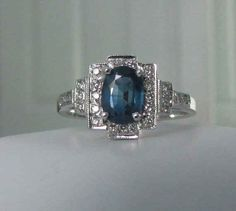 Art Deco Sapphire Ring In 14-Karat White Gold, $845 | 25 Vintage Engagement Rings You Can Actually Afford