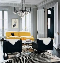 Black, white and yellow living room accented w/ zebra rug. i like the layout of this room im in LOVE with the rug and the chandaler and also the yellow couch Home And Living, Lyon Homes, Interior, Home Decor, House Interior, Living Spaces, Room, Yellow Living Room, Layered Rugs