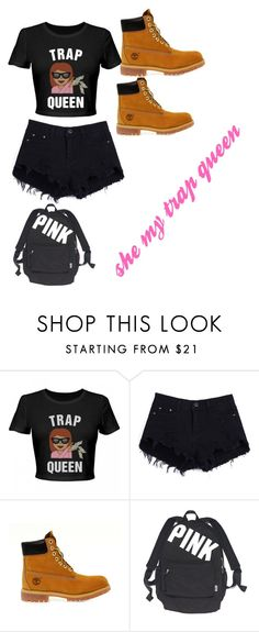"""""""She my trap queen"""" by babytre ❤ liked on Polyvore featuring Timberland and Victoria's Secret"""