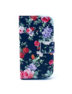 Δερμάτινη Θήκη Πορτοφόλι με Βάση Στήριξης για Samsung Galaxy S Duos S7562 / Trend S7560 / Ace II X S7560M - Πολύχρωμα λουλούδια