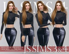 High Collar See Through Top and High Waist Leather Pants by JS Sims 4 The Sims, Js Sims 4, Sims 4 Blog, Sims4 Clothes, Sims 4 Game, Sims Resource, Sims 4 Custom Content, High Collar, See Through