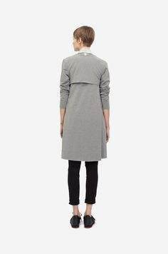 COTTON COAT Shorthaired model wearing a grey cotton coat with black sneakers. Design: Lucie Kutálková / LEEDA Black Sneakers, Blazer Jacket, Normcore, Grey, Coat, How To Wear, Jackets, Collection, Fashion
