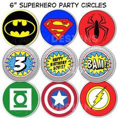 "Superhero Party Circles, Superhero Birthday Decor, 6"" Superhero Logo Centerpieces - PRINTABLE"