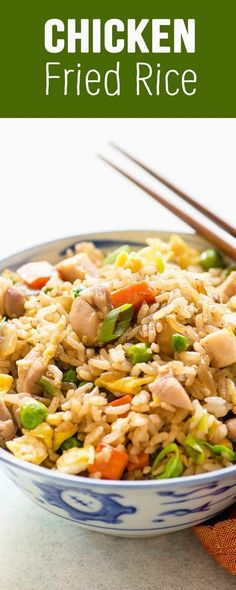 Chicken Fried Rice! This is an easy weeknight meal made on the stovetop. Made with chicken, eggs, onions, carrots, peas, and rice! #Chicken #FriedRice #WeeknightMeal #EasyDinner