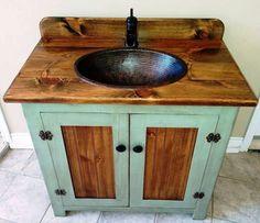 48 Inch Marble Top Single Sink Rustic Bathroom Vanity With
