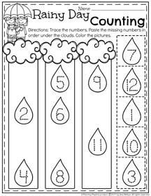 Preschool Number Order Worksheet for Spring - Rainy Day Counting.