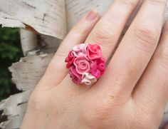 "Polymer Clay Ring... Pink Red Rosettes Bouquet ""Flower Girl"""
