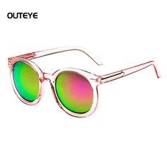 Outeye 2017 de moda diseñador de la marca de gafas de sol redondas mujeres góticas de espejo de gran tamaño gafas de sol retro vintage mujer oculos shades