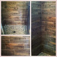 Ceramic faux wood tile shower! Love the stone on the floor!