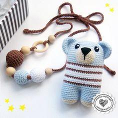 Bear Rattle + Nursing Necklace / Juego de osito Sonajero y collar de lactancia en cajita para regalo. Disponible también en rosa. .  Bear Pattern / Patrón osito Sonajero: @lanukas .  Materiales: @puntos_de_fantasia (bolitas de madera para el collar + hilos de algodón Katia Panamá)  #mariamartinezamigurumi Crochet Teddy, Crochet Toys, Crochet Baby, Teddy Bear Toys, Amigurumi Tutorial, How To Make Toys, Amigurumi Toys, Yarn Colors, Crochet For Kids