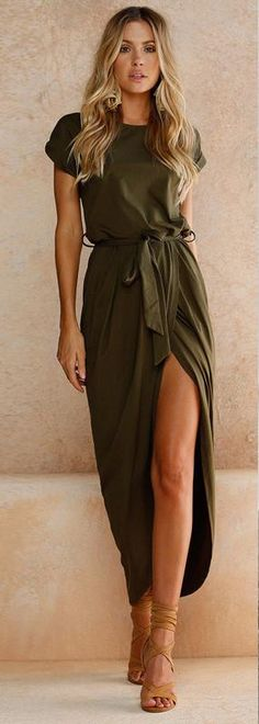 Description: Draped Wrap Dress Sophisticated and flirty. This dress trasitions easily from day to night, office to happy hour. Material: Polyester Length: Ankle Length Colors available: Dark Blue, Green, Gray, Pink Sizes available: S M L XL l The real color of the item may be slightly different from the pictures shown on the website, this is caused by many factors such as monitor and light brightness.