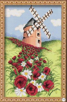 Cross Stitch Flowers, Cross Stitch Patterns, Stitch 2, Christmas Cross, Windmill, Kids Rugs, Embroidery, Beads, Holiday Decor
