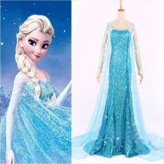 Volwassen Frozen jurk prinses Elsa met sleep (Aanbieding)