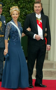 Crown Prince Charles and Princess Camilla of Bourbon Two Sicilies arrive to attend the wedding of Crown Prince Frederik & Crown Princess Mary of Denmark.