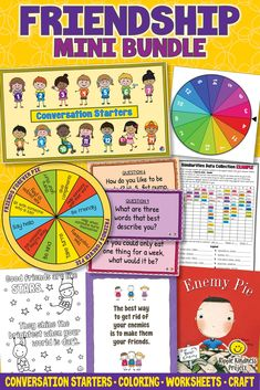 Three growth mindset resources to nurture community and help stop bullying. Friendship activities, word search, and a craft based on the picture book, Enemy Pie, kindness coloring pages, and Getting to Know You conversation starters for your morning meetings. #classroomcommunity #growthmindset #enemypie #kindnesscoloringpages #coloringpages #wordsearch #morningmeetings Quiet Time Activities, Classroom Activities, Classroom Ideas, Learning Resources, Teaching Ideas, Enemy Pie, Friendship Problems, Growth Mindset Lessons, Data Collection Sheets