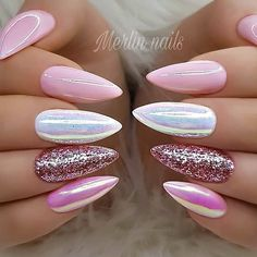 REPOST - -  - - Pinks Aurora-Effect and Glitter on long Pointed Nails  - -  - -  Picture and Nail Design by @merlin_nails  Follow her for more gorgeous nail art designs!  @merlin_nails @merlin_nails - -  - -