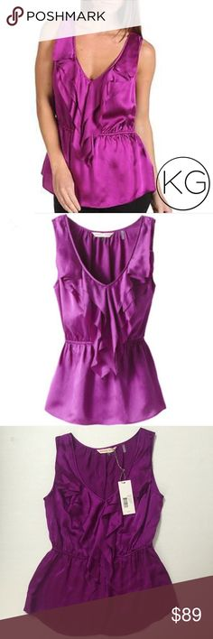 """Rebecca Taylor Flirt Tee Ruffle Top in Fuchsia In excellent condition, brand new with tags! •Women's size 2 - fits like a small/extra small •100% Silk •12.5"""" elastic waist (stretchy!) 18"""" from underarm to underarm, 24.5"""" from shoulder to hem •Retail $250  🚫no trades nor lowball offers🚫 Thank you for shopping in my closet! Rebecca Taylor Tops Blouses"""