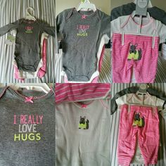 Carter's 3pc. Outfit One long sleeve and one short sleeve onesie,and a pair of pink and white strip pants with a Scottie on the butt. CARTER'S Matching Sets