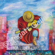 Artist:Vichou Katerina the expectations of a musician oil Price 1000 Blue Artwork, Shades Of Blue, Disney Characters, Fictional Characters, Oil, Artist, Passion, Painting, Magic