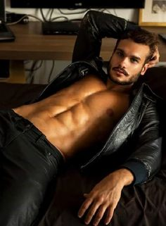 delicious man in leather jacket