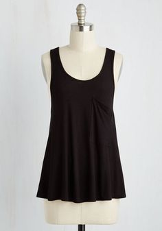 Smart Starting Point Top in Black - Mid-length, Knit, Black, Solid, Work, Casual, Variation, Lounge