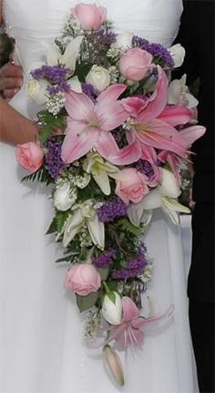 wedding bouquets with stargazer lilies | Downsized Image [cascade pink lilies stargazer lilies purple statice ...:
