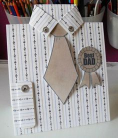 """Step-by-step photo tutorial to create this Father's Day card of a well-pressed shirt, tie and """"Best Dad"""" medal. Birthday Cards For Him, Dad Birthday Card, Masculine Birthday Cards, Handmade Birthday Cards, Masculine Cards, Greeting Cards Handmade, Diy Birthday, Father Birthday, Cards For Men Handmade"""