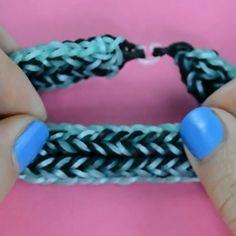 14041 Rainbow Loom armband i mönster som en bäversvans