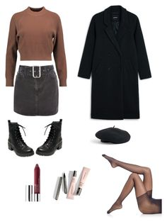 """""""University Outfit"""" by lilyhastings98 on Polyvore featuring moda, DKNY, Topshop, Madden Girl, Falke, Monki, Clinique ve Venus"""