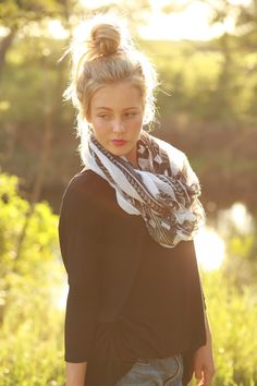 Black and White Tribal Infinity Scarf from The Charming Arrow Boutique