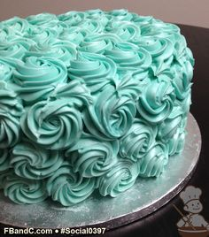 Social 0397 | Buttercream rose swirl cake.  Perfect for bridal showers! Rose Swirl Cake, Buttercream Roses, Rosette Cake, Specialty Cakes, Bakeries, Bridal Showers, Rosettes, Party Time, Frosting