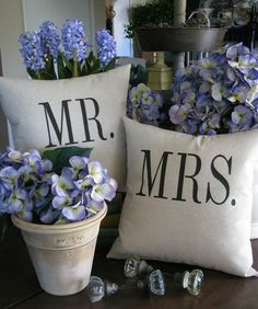 Mr. & Mrs. pillows /pair.....as seen in the Washington Post  via Shopmine, get product recommendations based on people you follow!