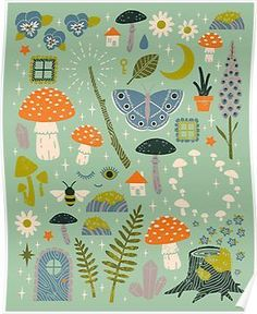 illustration, 'Fairy Garden' Poster by Camille Chew Garden Illustration, Pattern Illustration, Garden Drawing, Garden Art, Garden Design, Garden Frame, Posca, Illustrations, Surface Pattern Design