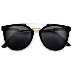 f982197592f26 Ultra Contemporary Sleek Thin Browbar Retro Inspired Sunglasses