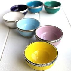 Small Silver Trimmed Moroccan Bowls - colour pop