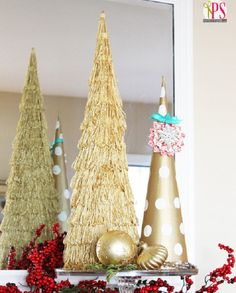 Diy - Gold cone Christmas trees make easy decorating