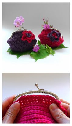 How to attach a crochet purse onto a sew-on frame - tutorial