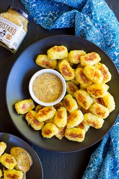 These Spaghetti Squash Tater Tots with Maple Mustard Dip are so delicious and addicting! The tater tots only have 4 ingredients and pair perfectly with the maple mustard dip! #ad #sponsored