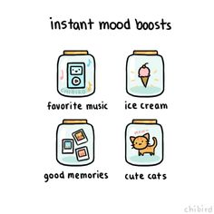 Any of these things can instantaneously cheer me up. >w< Also, bubbles. | chibird on Tumblr