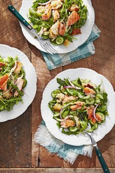 Forget boring, bland salads—this Cucumber-Salmon Panzanella is filled with ingredients to keep you full long after you've finished the final bite. Easter Dinner Recipes, Salad Recipes For Dinner, Summer Salad Recipes, Dinner Salads, Summer Salads, Easter Brunch, Easter Food, Easter Ideas, Christmas Recipes