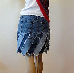 Short Upcycled Jeans Skirt. $60.00, via Etsy.