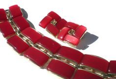 Vintage Bracelet & Clip Earrings Jewelry Set Signed by RibbonsEdge