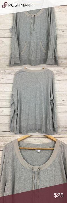 "J. Jill sweatshirt pocket long sleeve top Good condition. Some wash wear  Measurements Underarm to underarm: 26""  Length: 28"" J. Jill Tops"