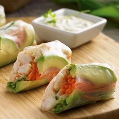 Spring Rolls All the flavors of a sushi roll are assembled easily in rice wrappers.All the flavors of a sushi roll are assembled easily in rice wrappers. Appetizer Recipes, Snack Recipes, Cooking Recipes, Sushi Recipes, Party Appetizers, Chef Recipes, Recipies, Healthy Snacks, Healthy Eating