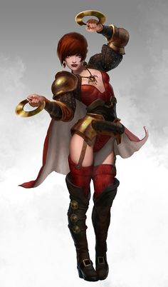 Female in red with circular hand blades  (Carrie by *AlexPascenko on deviantART
