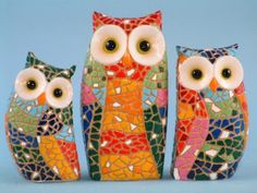 Colorful mosaic owls