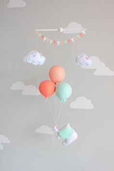 Mint and Coral, Baby Mobile, Elephant and Balloon Mobile, Travel Theme, Nursery Decor, Circus Mobile, i90 by sunshineandvodka on Etsy https://www.etsy.com/listing/231697431/mint-and-coral-baby-mobile-elephant-and