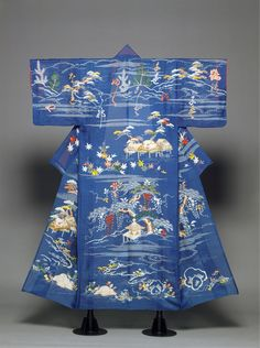 Unlined Kimono with Landscape and Poem Edo period (1615–1868)