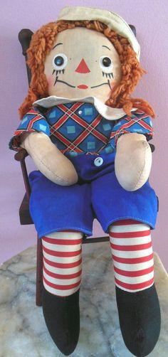 Vintage 1947 Georgene Raggedy Andy Cloth Doll